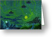 Keough Greeting Cards - One Strange Night Greeting Card by Dan Keough