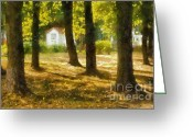 Barks Greeting Cards - One Sunny Day in Autumn. Impressionism Greeting Card by Jenny Rainbow