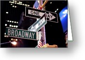 Manhattan Greeting Cards - One Way Greeting Card by Damien Rigondeaud