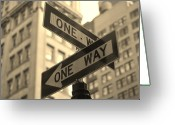 Guidance Greeting Cards - One Way, Manhattan Greeting Card by Photo by Yohsuke Ikebuchi