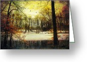 Winter Prints Greeting Cards - One Winter afternoon Greeting Card by John Rivera