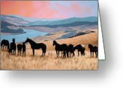 Equines Painting Greeting Cards - One with the Herd Greeting Card by Liz Mitten Ryan