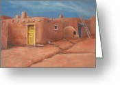 Taos Pueblo Greeting Cards - One Yellow Door Greeting Card by Jerry McElroy