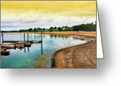 Row Boat Greeting Cards - Onset Beach Greeting Card by Gina Cormier
