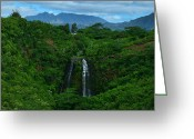 Island Photos Greeting Cards - Opaekaa Falls Kauai Hawaii Greeting Card by Ken Smith