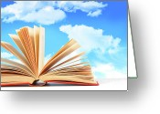 Cover Greeting Cards - Open book against a blue sky Greeting Card by Sandra Cunningham