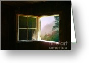 Cabin Window Greeting Cards - Open Cabin Window in Spring Greeting Card by Julie Dant