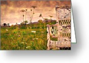 Vintage Chair Greeting Cards - Open Field Greeting Card by Kathy Jennings