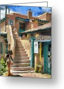 Taos Greeting Cards - Open for Business Greeting Card by Jeff Kolker