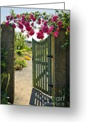 Wooden Home Greeting Cards - Open garden gate with roses Greeting Card by Elena Elisseeva