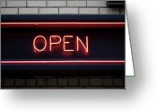 Advertisement Greeting Cards - Open Neon Sign Greeting Card by Frederick Bass