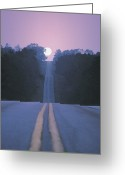Yellow Line Greeting Cards - Open Road With Moon Rising Greeting Card by Comstock