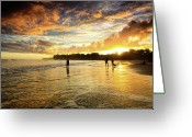 Playing On Beach Greeting Cards - Open View Greeting Card by Iris Greenwell