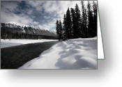 Snow Capped Digital Art Greeting Cards - Open water in winter Greeting Card by Mark Duffy