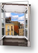 Rooftops Greeting Cards - Open window Greeting Card by Elena Elisseeva