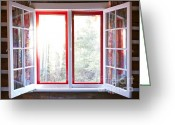 Curtain Greeting Cards - Open window in cottage Greeting Card by Elena Elisseeva