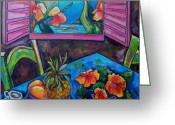 Tropical Beach Painting Greeting Cards - Open Window Greeting Card by Patti Schermerhorn