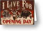 Antlers Greeting Cards - Opening day Sign Greeting Card by JQ Licensing