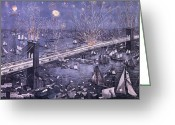 Great Painting Greeting Cards - Opening of the Great New York and Brooklyn Bridge and grand display of fire works Greeting Card by American School