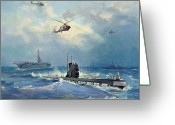 Submarines Greeting Cards - Operation Kama Greeting Card by Valentin Alexandrovich Pechatin