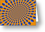 Geometric Digital Art Greeting Cards - Optical Illusion Pods Greeting Card by Michael Tompsett