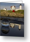 Cape Neddick Light Station Greeting Cards - Optical Phenomenon Greeting Card by Don Miller