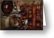 Old Glasses Greeting Cards - Optometrist - The lens apparatus Greeting Card by Mike Savad