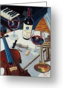 Trumpet Glass Greeting Cards - Opus and Music Greeting Card by Christopher Mize