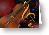 Violin Digital Art Greeting Cards - Opus for the Final Frontier Greeting Card by Judi Quelland