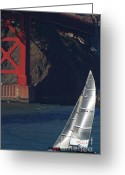Ggbridge Greeting Cards - Oracle Racing Team USA 76 International Americas Cup Sailboat . 7D8071 Greeting Card by Wingsdomain Art and Photography