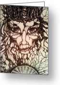 Fortune Teller Drawings Greeting Cards - Oracle Greeting Card by Rae Chichilnitsky