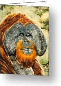 Wildlife Art Ceramics Greeting Cards - Orang Utan Greeting Card by Dy Witt