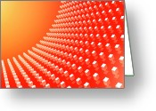 Creativity Digital Art Greeting Cards - Orange Abstract Cubes In A Curve Greeting Card by Ralf Hiemisch