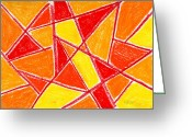 Red Lines Greeting Cards - Orange Abstract Greeting Card by Hakon Soreide