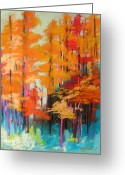Colours Pastels Greeting Cards - Orange Against Blue Greeting Card by John  Williams