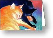 Pet Portrait Artists Greeting Cards - Orange and Black tabby cats sleeping Greeting Card by Svetlana Novikova