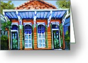 Street Scene Greeting Cards - Orange and Blue Greeting Card by Dianne Parks