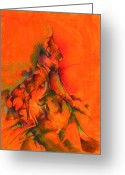 Trippy Greeting Cards - Orange and green Greeting Card by Bodhi  