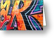 Signature Greeting Cards - Orange and Red graffiti tag Greeting Card by Richard Thomas