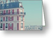 Apartment Greeting Cards - Orange Apartment Building With View Over Paris Greeting Card by Cindy Prins