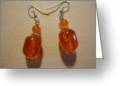 Earrings Jewelry Greeting Cards - Orange Ball Drop Earrings Greeting Card by Jenna Green