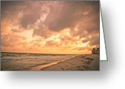 Toriaray Greeting Cards - Orange Beach Greeting Card by Victoria Lawrence