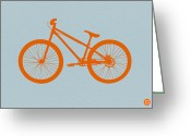 Funny Car Greeting Cards - Orange Bicycle  Greeting Card by Irina  March