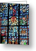 Stain Glass Window Glass Art Greeting Cards - Orange Blue Stained Glass Window Greeting Card by Thomas Woolworth