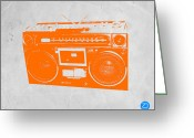 Iconic Design Greeting Cards - Orange boombox Greeting Card by Irina  March