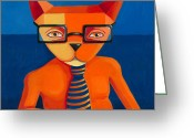 Business Painting Greeting Cards - Orange Business Cat Greeting Card by Mike Lawrence