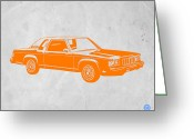 Funny Car Greeting Cards - Orange Car Greeting Card by Irina  March