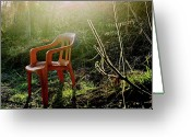 Alone Greeting Cards - Orange chair Greeting Card by Bernard Jaubert