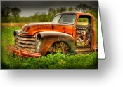 Old Chevrolet Truck Greeting Cards - Orange Chevy Greeting Card by Thomas Young