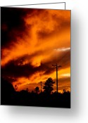 Dana Oliver Greeting Cards - Orange clouds at sunset Greeting Card by Dana  Oliver